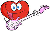 Romantic Red Heart Man Playing A Guitar And Singing — Stock Photo