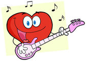 Romantic Red Hear Playing A Guitar And Singing — Stock Photo