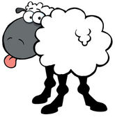 Black Sheep Sticking Out His Tongue — Stock Photo
