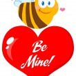 Cute Bee A Red Heart — Stock Photo