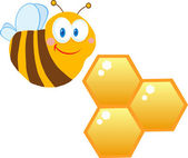 Bee Cartoon Character With Bee Hives — Stock Photo