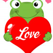 Frog Holding A Heart With Text - Stock Photo