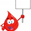 Blood Guy Holding Up A Blank Sign — Stock Photo