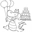 Outlined Birthday Crocodile Holding Up A Birthday Cake — Stock Photo