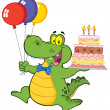 Birthday Crocodile Holding Up A Birthday Cake With Candles — Stock Photo