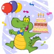 Birthday Alligator Holding Up A Birthday Cake — Stock Photo