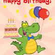 Greeting Card With Happy Crocodile Holding Up A Birthday Cake With Candles — Stock Photo #8967008