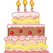 Birthday Cake With Three Candles — Stock Photo