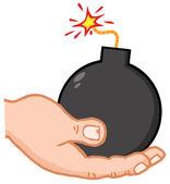 Hand Holding Bomb — Stock Photo