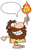 Talking Caveman Holding Up A Fiery Torch — Stock Photo