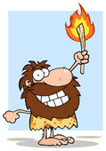 Smiling Caveman Holding Up A Torch — Stock Photo