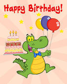 Greeting Card With Happy Crocodile Holding Up A Birthday Cake With Candles — Stock Photo