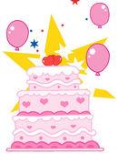 Düğün pastası ile yıldızlar ve balon — Stok fotoğraf