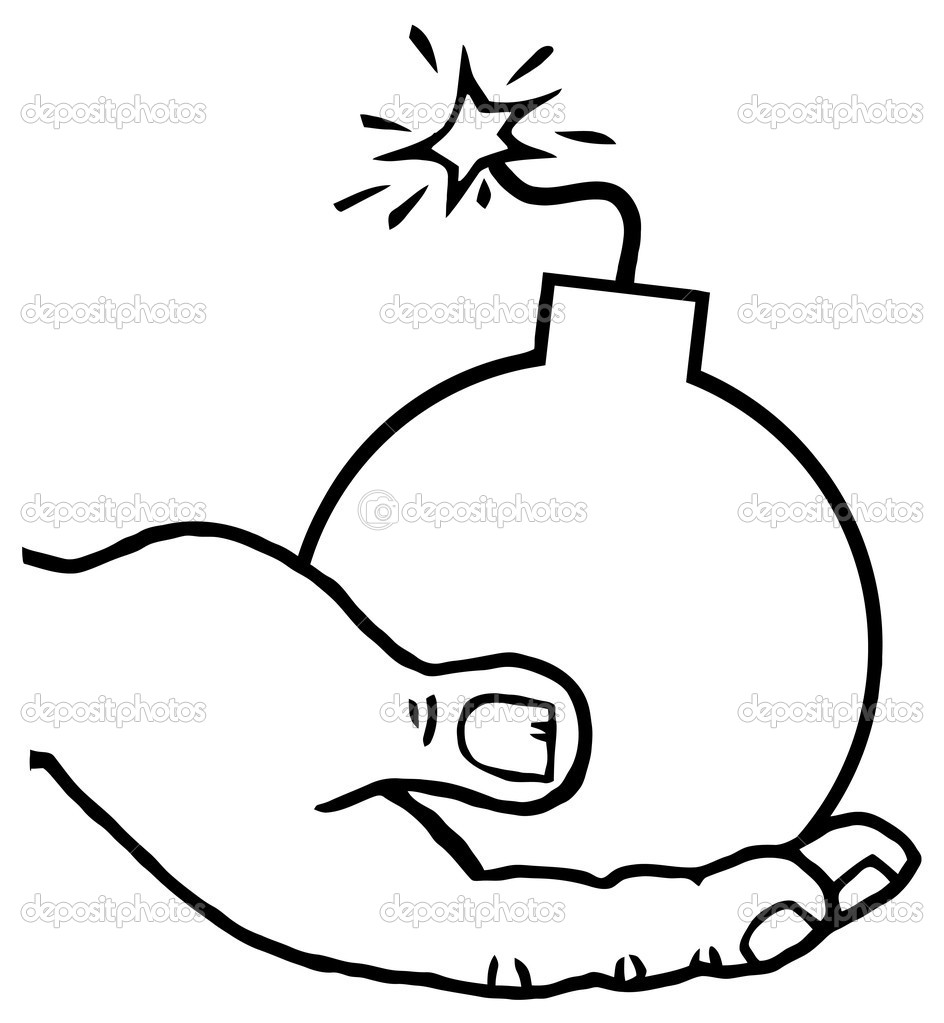 Outlined terrorist hand holding a bomb stock photo 169 hittoon
