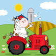 图库照片: Cow Farmer Waving And Driving Red Tractor In Field