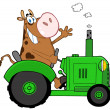 Cow Farmer Waving And Driving A Green Tractor — Stock Photo
