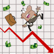Hispanic Businessman Tripping And Dropping Money On A Graph — Stock Photo