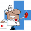 Waving CaucasiMale Doctor With Cross And Ringing Phone — Foto de stock #9086242