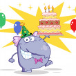 Purple Birthday Party Elephant Holding A Cake — Stock Photo