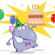Royalty-Free Stock Photo: Purple Birthday Party Elephant Holding A Cake