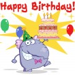 Stock Photo: Greeting From Elephant With Birthday Cake And Balloons