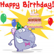 Greeting From Elephant With Birthday Cake And Balloons — Stock Photo