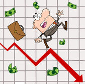 Failed Businessman Goes Down With The Statistics Arrow — Stock Photo