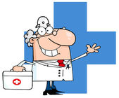 Male Doctor Waving Over A Blue Cross — Stock Photo