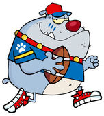 Gray Bulldog Football Player Running — Stock Photo