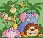 Cartoon Jungle Animals — Stock Photo