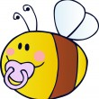 Flying Baby Bee Cartoon Character - Stock Photo