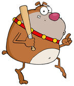 Brown Bulldog Tip Toeing With Baseball Bat — Stock Photo