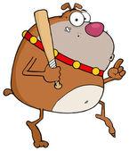 Brown Bulldog Tip Toeing With Baseball Bat — Stock Photo