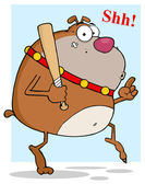 Sneaky Brown Bulldog Tip Toeing With Baseball Bat — Stock Photo