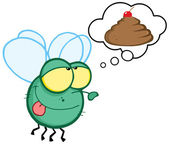 Green Fly Flying and Dreaming About A Poop Cake — Stock Photo