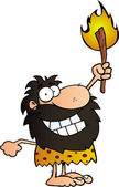 Happy Caveman Holding Up A Torch — Stock Photo