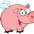Stock Photo: Pig Flying Cartoon Character