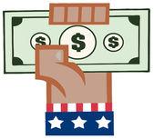 Afro-Amerikaanse hand in usa vlag bedrijf in een cash — Stockfoto
