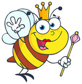 Cute Queen Bee Waving — Stock Photo