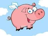 Happy Pig Flying In A Sky — Stock Photo
