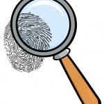 带指纹的放大镜 — 图库照片