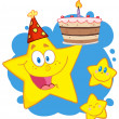 Happy Star Holding A Birthday Cake — Foto Stock