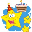 Happy Star Holding A Birthday Cake — Stockfoto