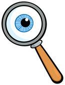 Zvětšovací sklo s oční koule — Stock fotografie