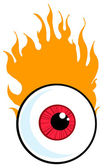Red Eyeball In Flames — Stock Photo