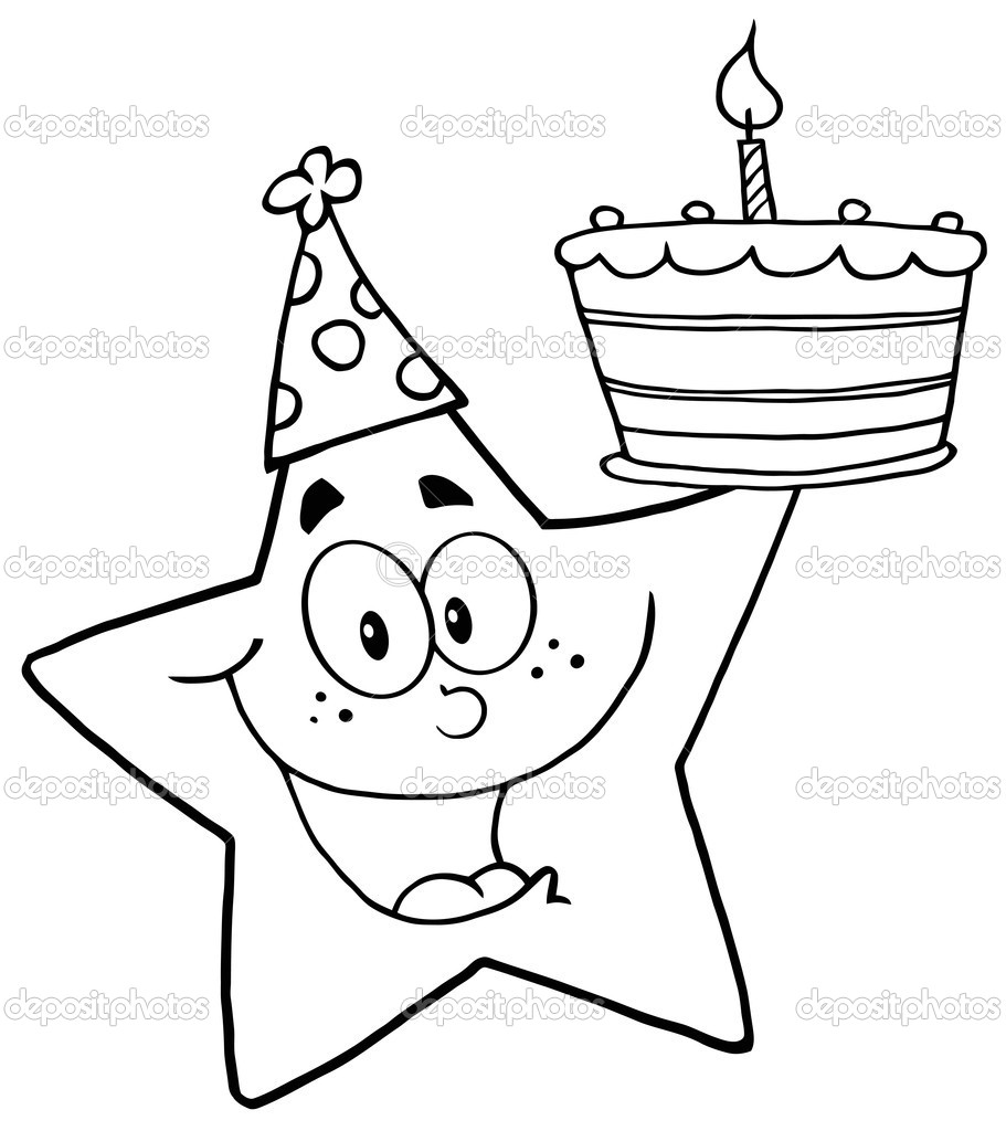 Outline Happy Star Holding A Birthday Cake — Stock Photo #9323304