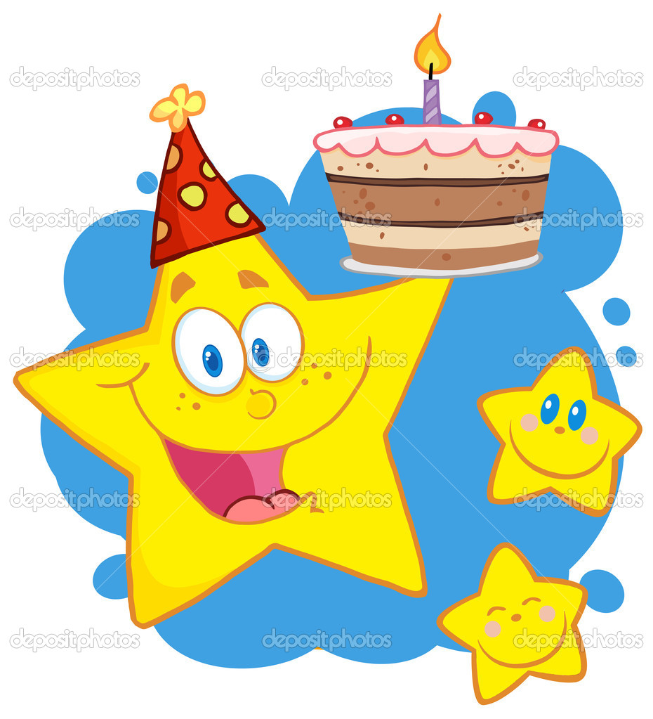 Happy Star Holding A Birthday Cake With Little Two Stars — Stock Photo #9323311