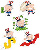 Uncle Sam Cartoon Collection — Stock Photo