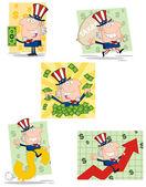Personajes de dibujos animados de tío sam — Foto de Stock