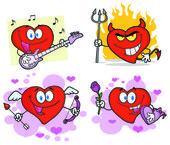Srdce kreslenými postavičkami — Stock fotografie